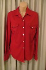 VINTAGE ~ JAG ~  Red Wool ~ BLOUSE/TOP * Size 8/10 *