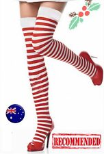 Women Lady Red White Stripe Knee High Costume Halloween Christmas Socks Tights
