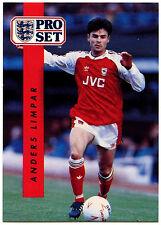 Anders Limpar Arsenal #14 Pro Set Fútbol 1990-1 tarjeta de comercio (C363)