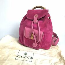 GUCCI bamboo mini backpack suede × leather pink 003-58-0030 used 1317-10Z52