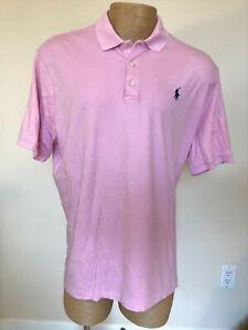 Ralph Lauren Polo Soft Touch 100% Cotton Pink Polo Shirt ~ Men's XL