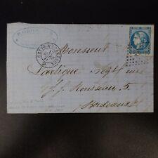 CÉRÈS N°46B + VOISIN PERCÉ EN LIGNE LETTRE COVER AMBULANTS CETTE A BORDEAUX 1871