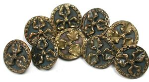 """9 Antique Brass Buttons with Triple Leaf Design 9/16"""""""