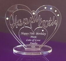 Personalised 70th Birthday Gift Heart with message -  Free Standing Keepsake