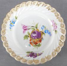 Carl Thieme Dresden Hand Painted Floral & Gilt Toddy Plate Circa 1888 - 1891