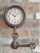 Industrial Style Pipe Wall Clock Retro Vintage Metal Steampunk Urban Warehouse