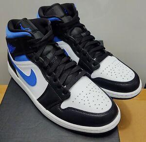 Nike Air Jordan 1 Mid 554724-140 White Black Royal Blue New W/Box Size 11 DS