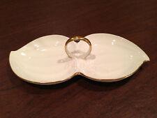Vintage MIKASA Ivory-Bone China 24K Gold Trim HANDLED 2-PART CANDY DISPLAY DISH