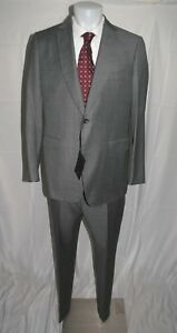 Dunhill x Zegna Mayfair Fit Gray Grosgrain Flat Front  Two Button Suit 46L NWT