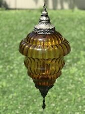 Large Amber Glass Brass Ceiling Light Fixture  Mount Vintage Mid Century  MINT