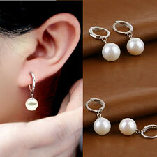 Fashion Womens Silver Plated Ear Huggie Hoop Dangle Drop Earrings Jewerly Gift