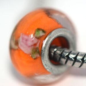 1x Orange Lampwork Murano Glass Bead Charms Spacer Fit Eupropean Chain Bracelet