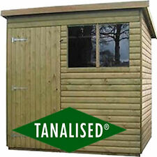 16mm Log Lap Cladding 8x6 Pent gardeb Shed Heavy Duty Tanalised Top Quality