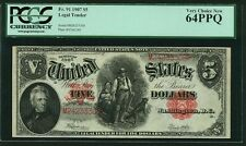 """U.S. 1907 $5 LEGAL TENDER BANKNOTE  FR-91 PCGS CERTIFIED """"VERY CHOICE NEW"""" 64PPQ"""