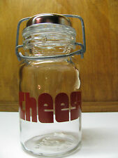 VTG Mid Century CHEESE CANISTER Container WHEATON Glass Wire Bail Shaker EUC USA