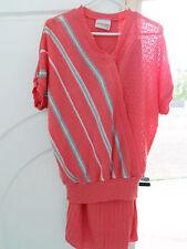 Ladies top skirt knit ensemble M 14 16 tangerine w grey white stripe bat wing sl