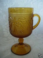 Vintage TIARA Amber/Gold Sandwich Glass Footed Mug - MORE AVAILABLE