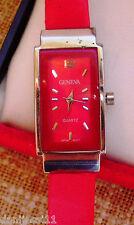 Reloj para niño Geneva Quartz, correa de cuero color rojo