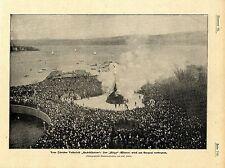 Züricher Volksfest Sechseläuten Der Bögg / Winter wird am Seequai verbrannt 1901