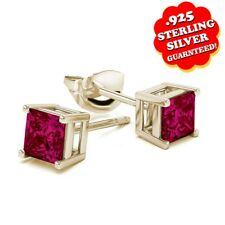 3 Ct Square Princess Cut Ruby 14k Yellow Gold Over Sterling Silver Stud Earrings