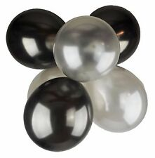 Pack of 25 12'' Latex Pearl Black Silver Balloons Wedding Party Helium Air