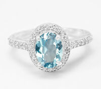 925 Sterling Silver Ring Natural Oval Cut Blue Topaz Halo Size 4 5 6 7 8 9 10 11
