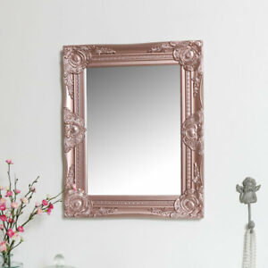 Ornate Rose Gold Pink Wall Mirror with Bevelled Glass bathroom bedroom decor