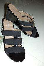 RIVERS: Size: 38 / 7. Patent Black, 3 x Wide ComfyElastic-Strap Wedge-Heel Shoes