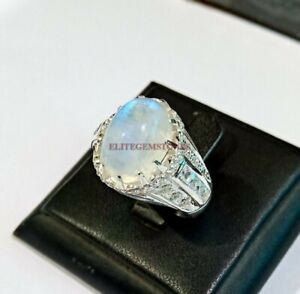 Natural Rainbow Moonstone with 925 Sterling Silver Ring for Men's EG1143