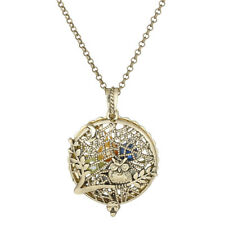 """Bronze Pad Aroma Diffuser Tree Owl Beads Cage Locket Necklace 20""""--VB1276"""