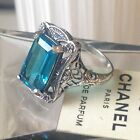 SUPERB VICTORIAN Style STERLING Silver 925 Natural 7CT LONDON BLUE TOPAZ RING