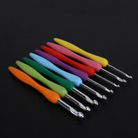 8pcs Colorful Plastic Handle Aluminum Crochet Hooks Knitting Needles Set 2.5-6MM