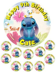 """Stitch  6.5"""" round  and 10 Smaller 1.5""""   Edible Icing Cake Topper"""