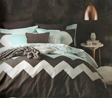 Logan and Mason Marley MINT Chevron King Size Bed Doona Duvet Quilt Cover Set