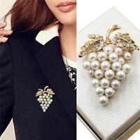 Spilla d'uva Spilla a forma di strass con perla placcata in oro WLQ