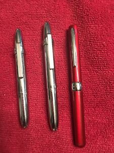 🔥3 Vintage Fisher Space Chrome Bullet Pens With Clips🔥