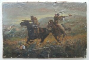 """Old Wild West Painting Western Artist Guns N Horses, Signed """"F Remington"""" NR !!"""
