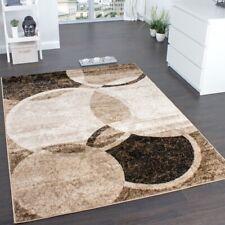 Modern Designer Rug Living Room Mat Circular Design Carpet in Brown Beige Colour