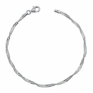 Solid 925 Sterling Silver SINGAPORE chain BRACELET 2mm NEW