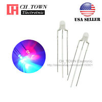 100pcs 3mm 3Pin Common Cathode Water Clear Bi-Color Red Blue Light Led Diodes