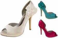 Stiletto Satin Peep Toe Floral Heels for Women