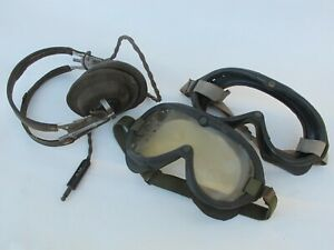 WWII Aviation gear - USAAF HB-7 earphones and B8 goggles, USN M-1944 goggles