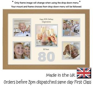 """80th Birthday Photo Frame 4""""x4"""" x4 and 5""""x5"""" Photo by Photos in a Word 972D"""