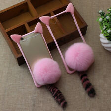 Fashion Cute Furry Cat Ear & Tail Pink Fur Ball Clear Case Cover For iPhone 7