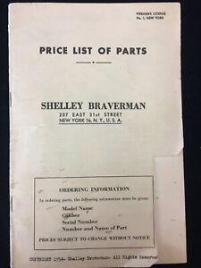 1954 PRICE LIST OF COMPONENT PARTS, REVOLVERS & AUTOMATIC PISTOLS, BRAVERMAN, NY