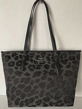 New Coach 39037 Leopard Jacquard Zip Tote handbag Grey