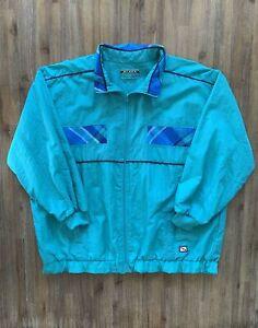 BLACK PEPPER Size 14 Vintage Teal Green and Blue Tracksuit Jacket Women's NOV52