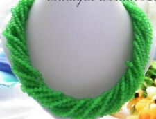 9 Strands 20 Inches 4mm Natural Green Jade Round Beads Necklace