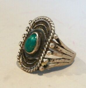 AWESOME FRED HARVEY ERA (VERY EARLY) VNTG~NATIVE NAVAJO~STERLING TURQUOISE RING