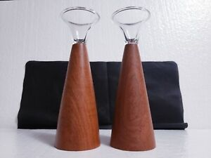 "Pair of Mid-Century Danish Modern 8.5"" Teak Wood & Glass Candle Holders"